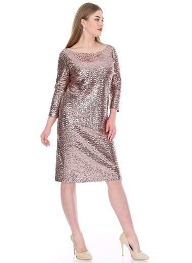 Angelino Butik Payetli Mini Abiye Elbise KL5601 Bakır